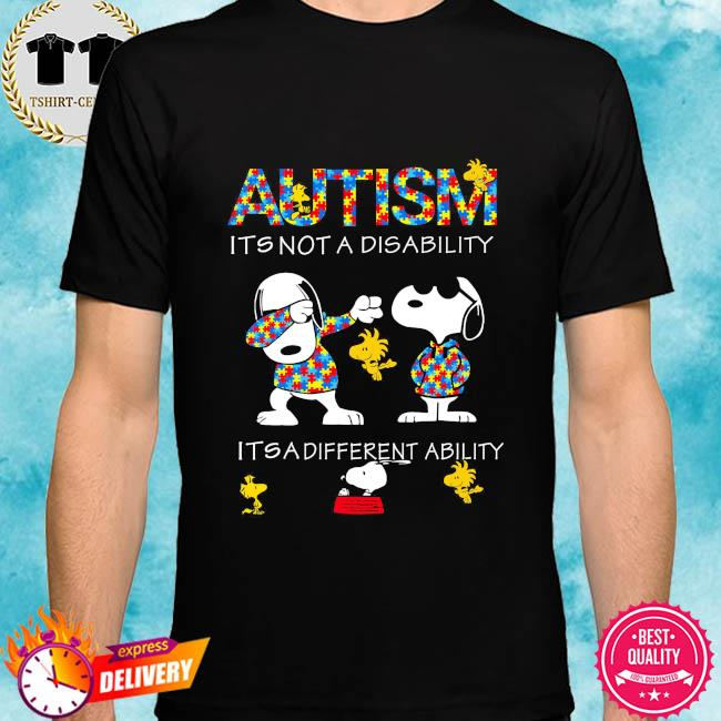 Dabbing Snoopy Autism it's not a disability it's a different ability shirt