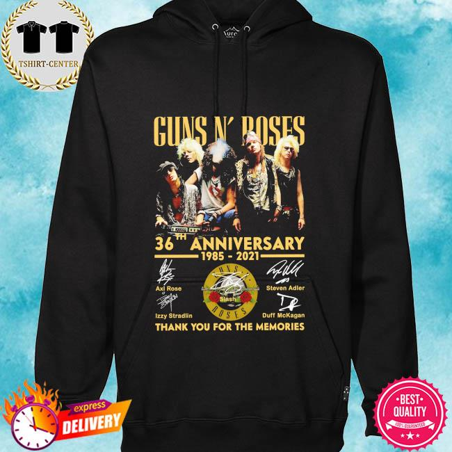 Funny Guns N' Roses 36th anniversary 1985 2021 thank you for the memories signatures s hoodie